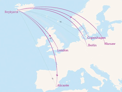 mapa de ruta WOW AIRLINE